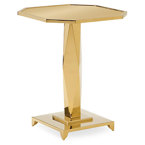 Pedestal Side Table, Polished Gold