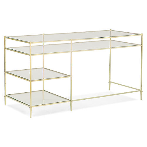 Cleary Desk, Gold/Clear