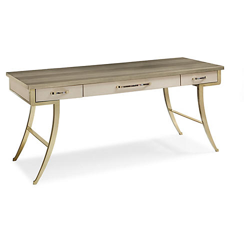 Avery Faux-Shagreen Desk, Gray/Gold