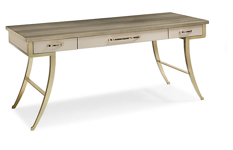 Avery Faux-Shagreen Desk, Gray/Gold
