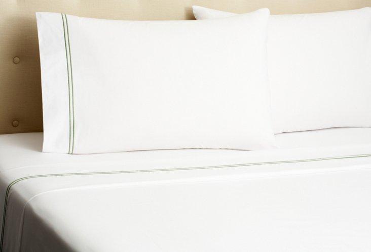 Hotel Embroidered Sheet Set, Olive
