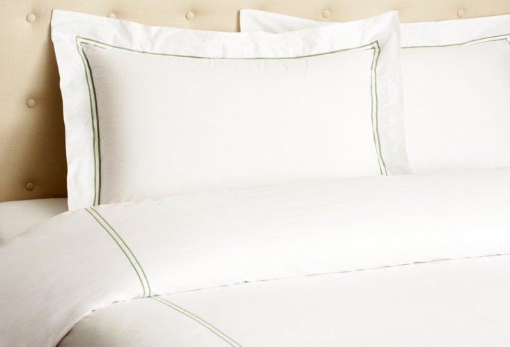 Hotel Embroidered Duvet Set, Olive