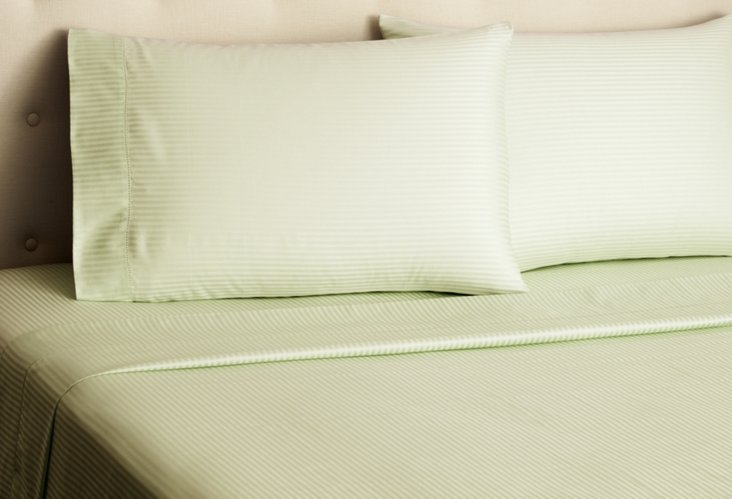 Sateen Stripe Sheet Set, Pale Green