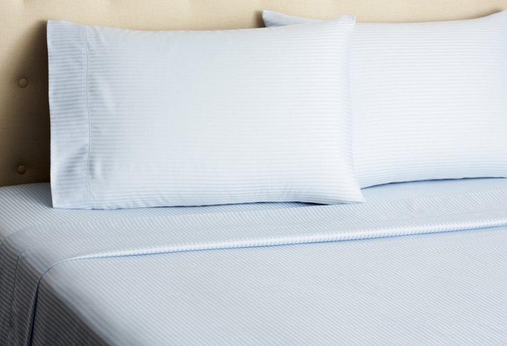 Sateen Stripe Sheet Set, Pale Blue