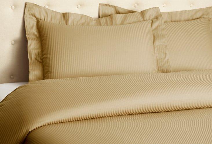 Queen Sateen Stripe  Duvet Set, Caramel