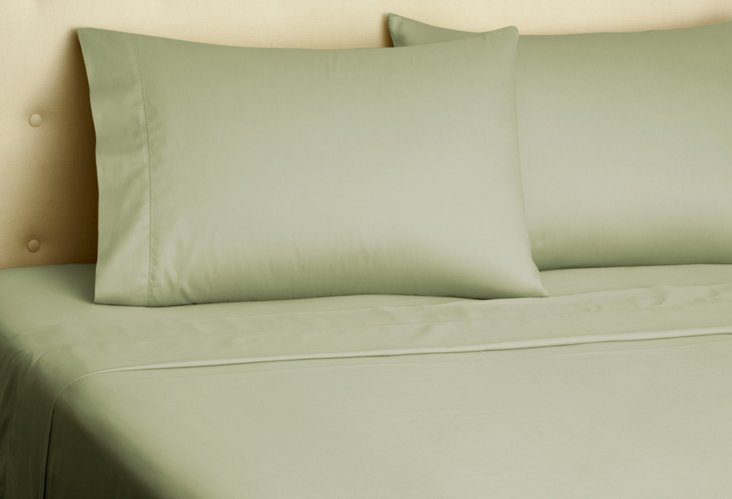 Queen Hemstitch Sateen Sheet Set, Olive