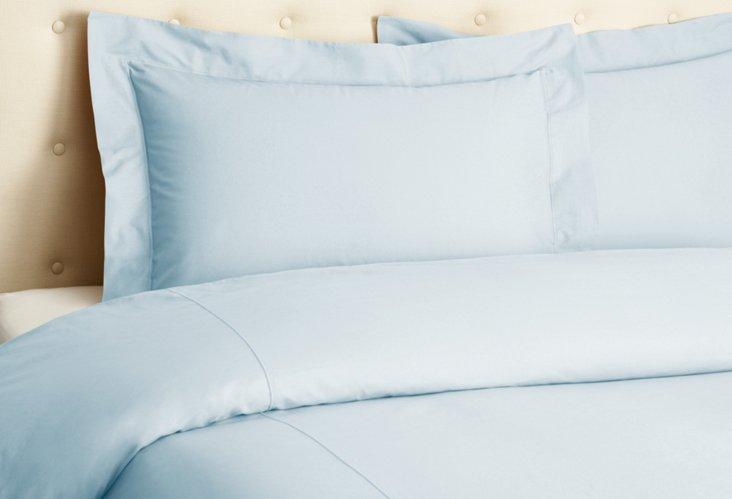 Percale Duvet Set, Pale Blue