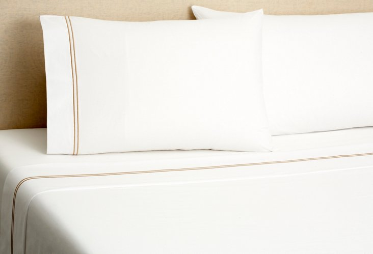 Hotel Embroidered Sheet Set, Taupe