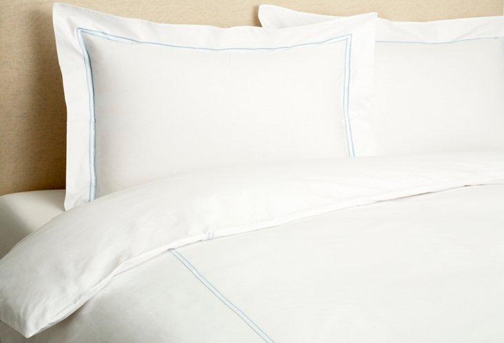 Hotel Embroidered Duvet Set, Blue