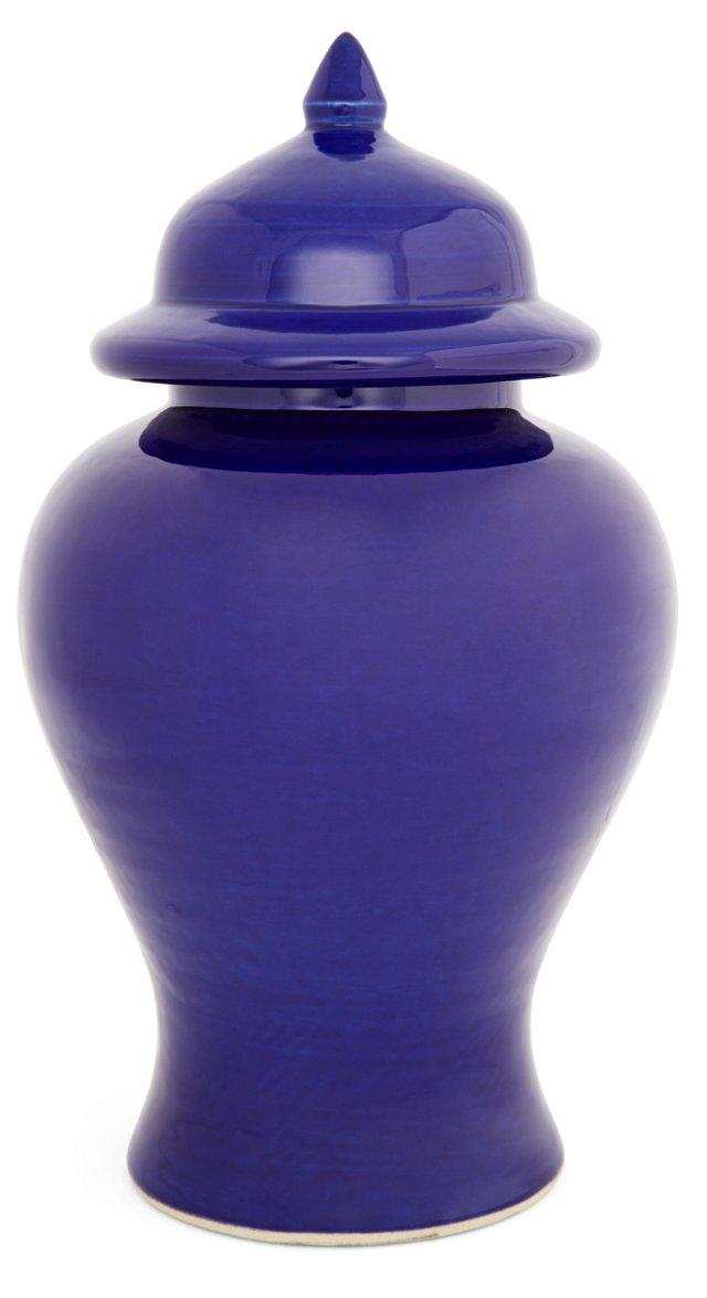 """13"""" Ginger Ceramic Jar, Blue"""
