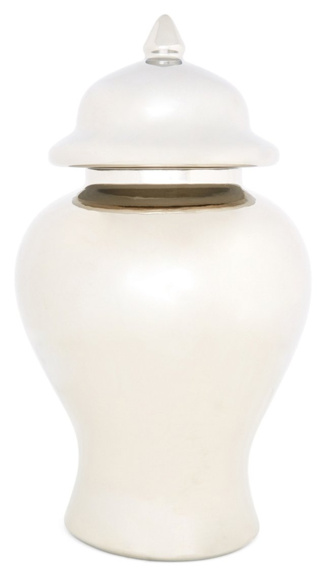 "13"" Ginger Ceramic Jar, Silver"