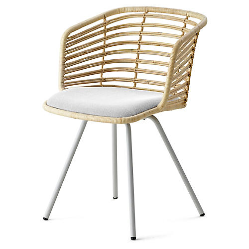 Spin Armchair, White Sunbrella