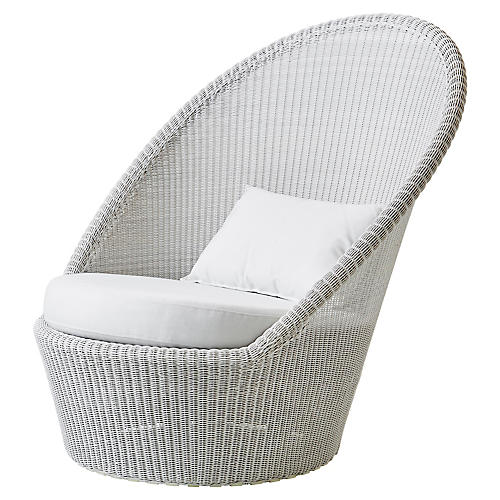 Kingston Lounge Chair, White Sunbrella