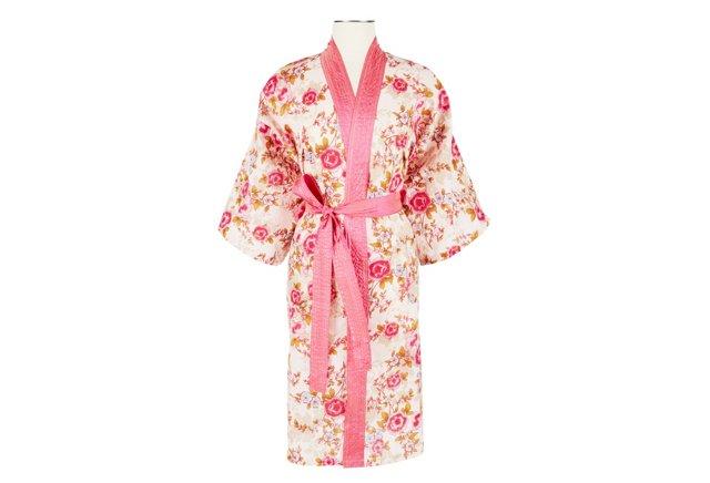 Cotton Wrap Kimono, Pink Beautiful