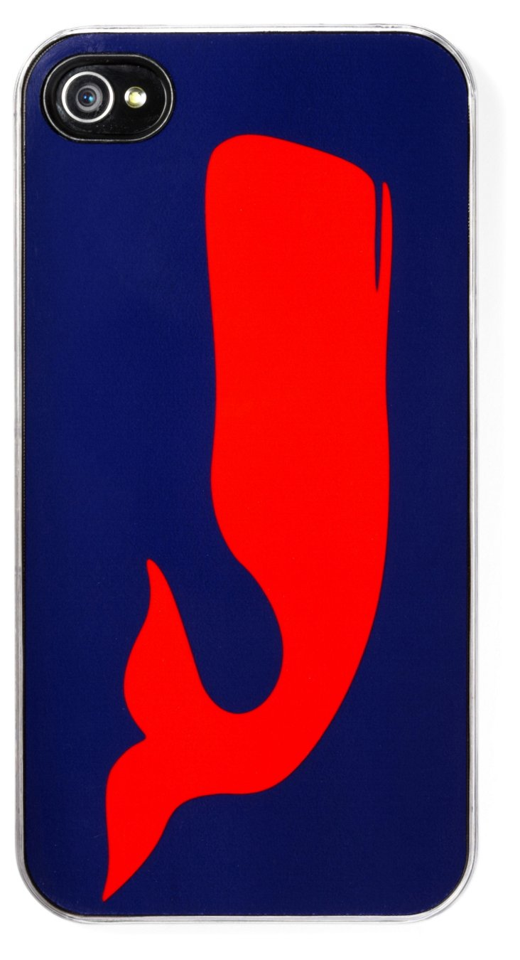 Navy iPhone Case, Red Whale