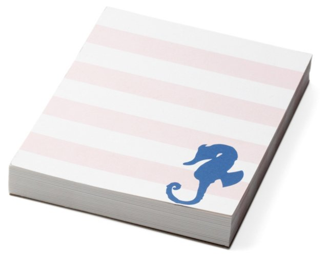 S/2 Mini Striped Seahorse Notepads, Pink