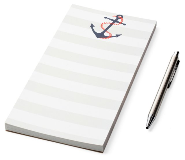 S/2  List Pads, Gray Striped Anchor