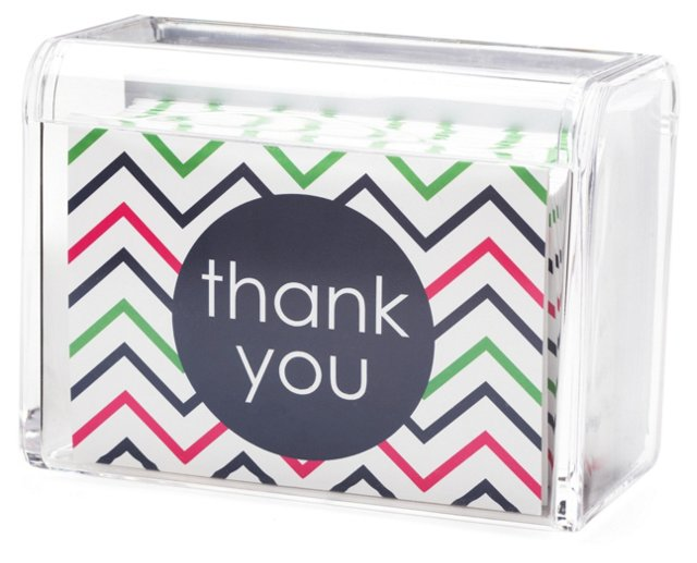 S/25 Thank You Cards in Lucite Box, Navy