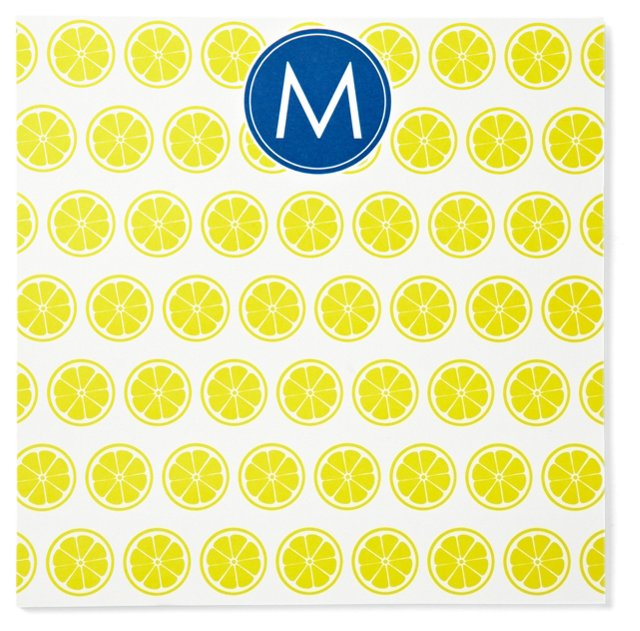 S/2 Initial Lemon Notepads, Yellow/Navy