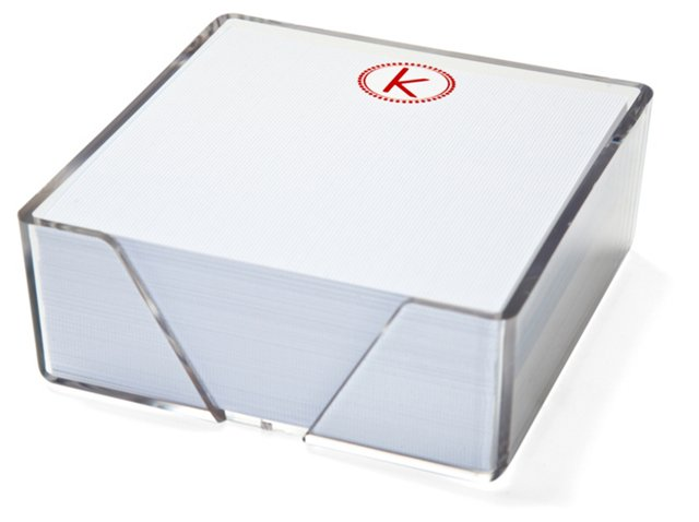 Striped Initial Notes in Acrylic Box, Bl