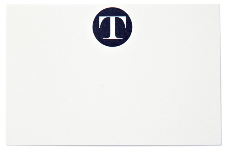 S/40 Initial Place Cards, Navy