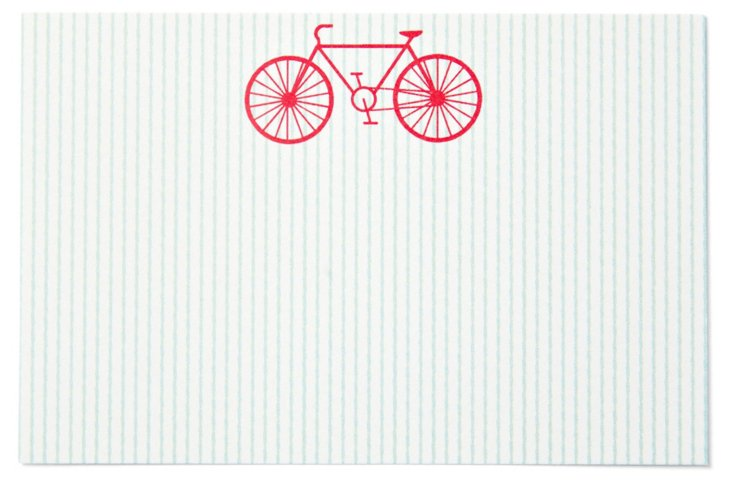 S/40 Mint Stripe Place Cards, Bike