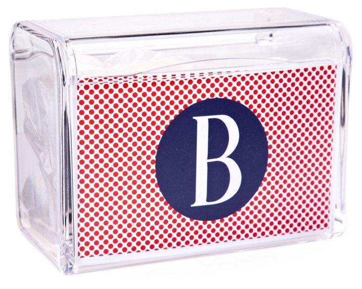 Initialed Recipe Box, Red/Blue