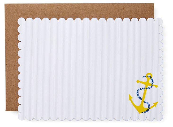 S/20 Anchor Die Cut Note Cards, Yellow