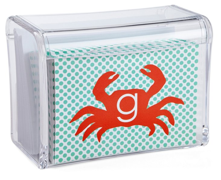 S/25 Boxed Crab Stationery w/ Initial, Red