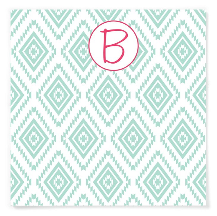 S/2 Initial Square Pads, Aztec Blue