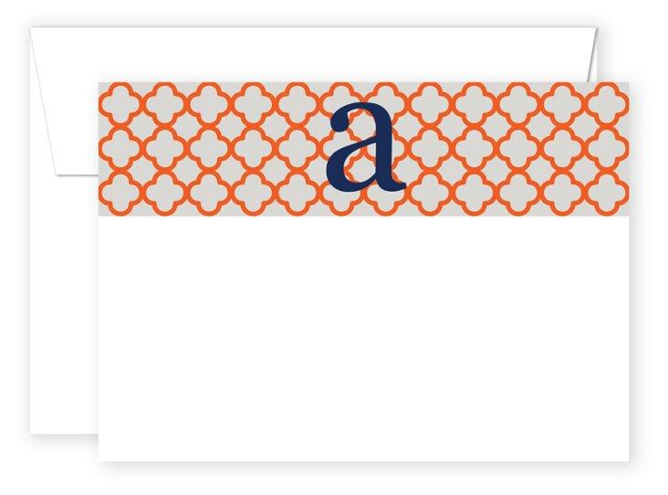 S/20 Initial Trellis Flat Cards, Orange