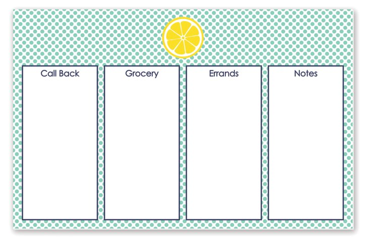 Lemon Planning Desk Pad, Mint