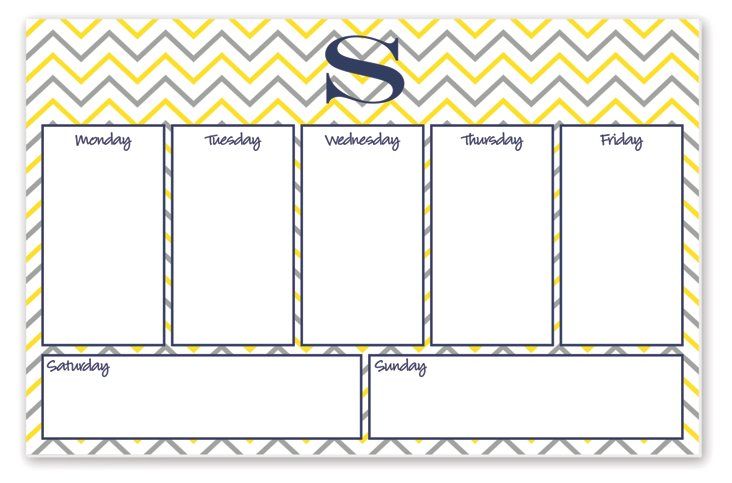 Desk Pad Initial Weekly Planner, Yellow
