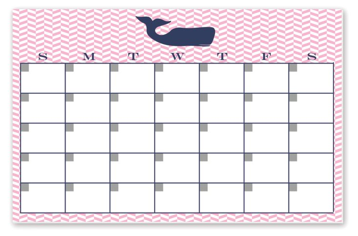Whale Monthly Desk Pad, Pink