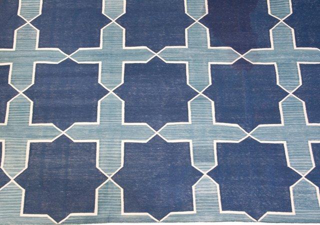 Blue Graphic Cotton Rug, 10' x 8'