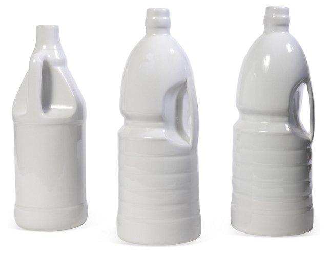 Molded Ceramic Bottles, Set of 3
