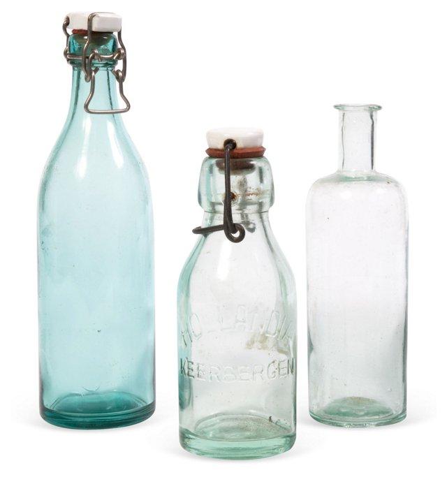 Glass Bottles, Set of 3