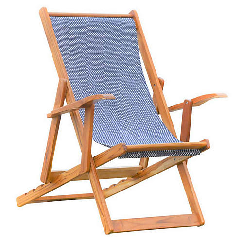 Lounger Outdoor Chair, Navy/White