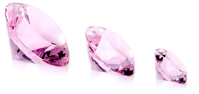 Pink Cut Crystal Diamond, Asst. of 3