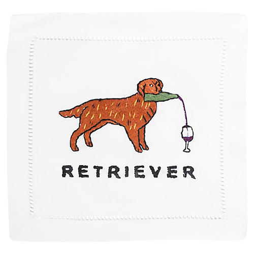 S/4 Retriever Cocktail Napkins, White/Multi