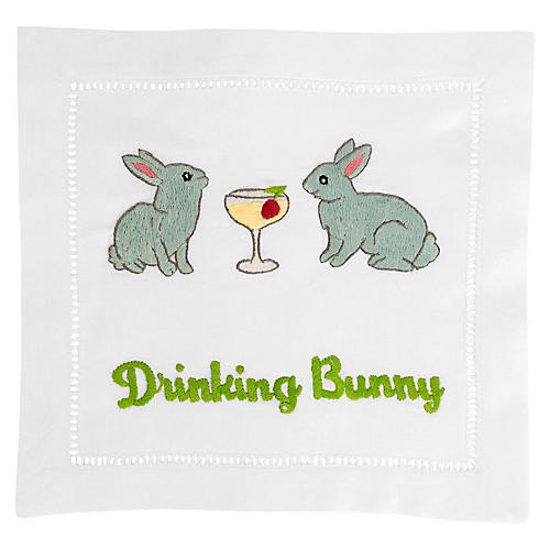 S/4 Drinking Bunny Cocktail Napkins, White/Multi