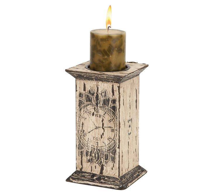 """9"""" Washed-Wood Candleholder"""
