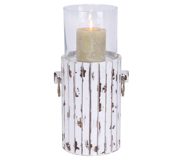 """19"""" Whitewashed Wood Candleholder"""
