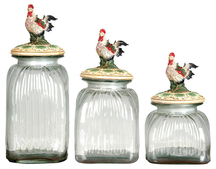 Rooster Canisters, Asst. of 3