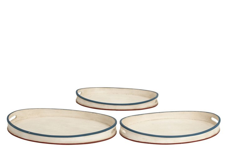 S/3 Oval Newport Trays