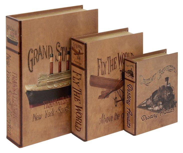 S/3 Planes, Train & Boat Book Boxes