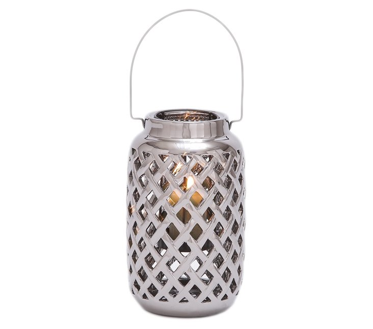 "10"" Woven Ceramic Candleholder, Silver"