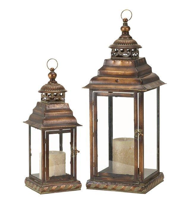 Bronze Detailed Lanterns, Asst. of 2