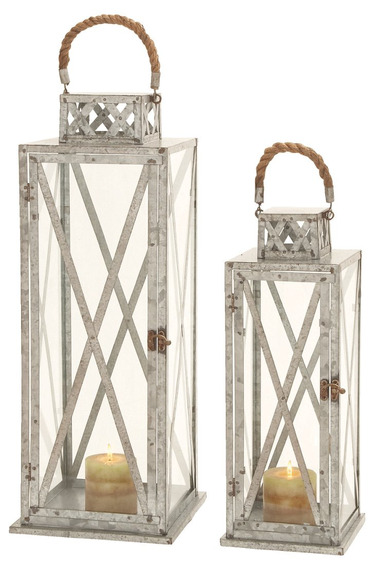 Asst. of 2 Front-Porch Lanterns, Silver