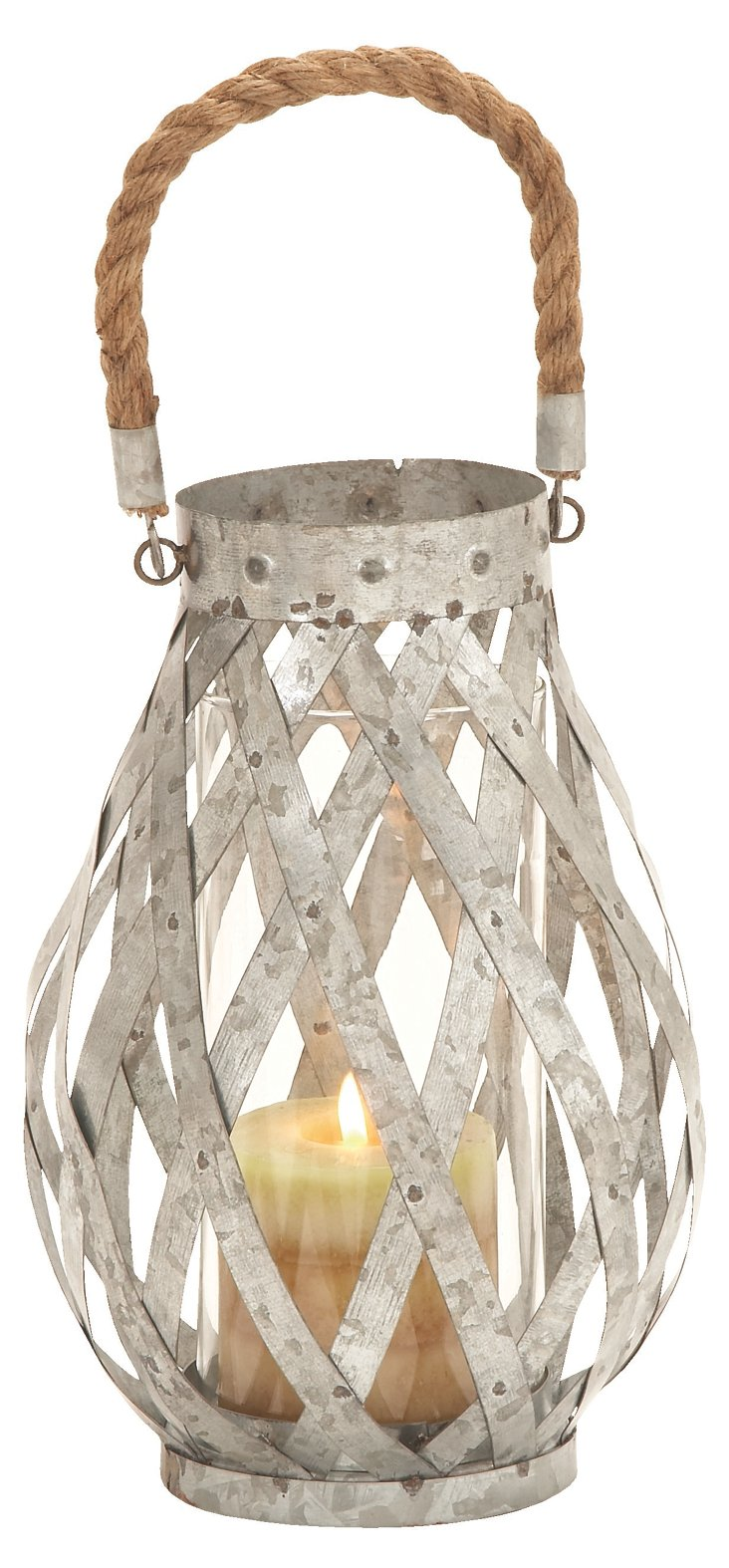 "11"" Metal & Rope Candleholder, Silver"